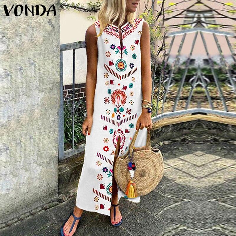 VONDA Bohemian Women Floral Printed Dress Summer 2019 Casual Sleeveless Split Hem Party Dresses Long Kaftan Vestidos Plus Size Платье