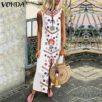 VONDA Women Floral Printed Dress 2019 Summer Boho Casual Loose Sleeveless Split Hem Party Dresses Long Kaftan Vestidos Plus Size Платье