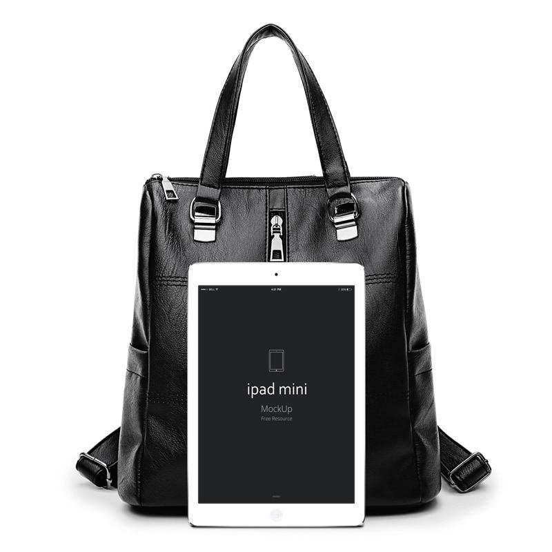 2018 Women Casual Backpack PU Leather Backpack Teenage Girls Female Zipper School Bags Rucksacks Ladies Travel Bags