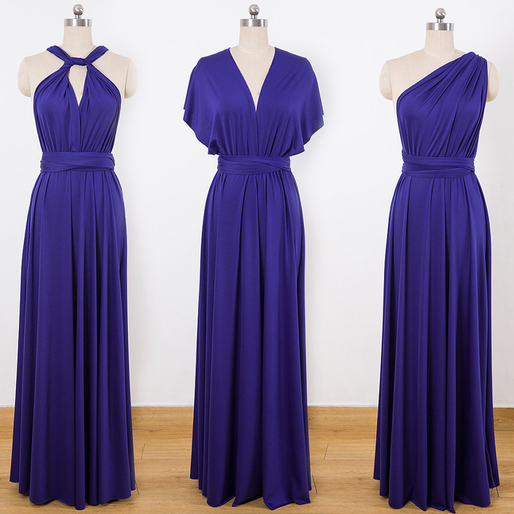 Jersey Convertible Bridesmaid Dresses Custom Made Royal Blue One Shoulder Maxi Infinity Floor Length Sleeveless Multiway