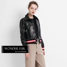 Simple Design Lower Edge Detachable Leather Jacket Trend Style Real Sheepskin Coat For Lady Quality Leather Hem Removeble