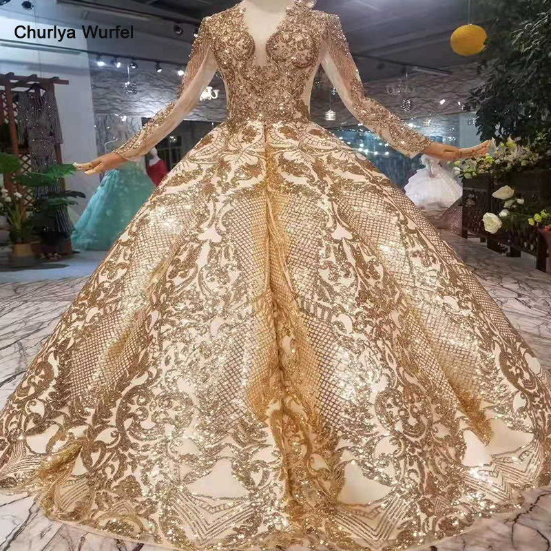 LSS260 Luxury Floor Length Queen Prom Dresses  Curve Shape Ball Gown Sparkly Golden Sequined Evening Party Dresses With Glitter