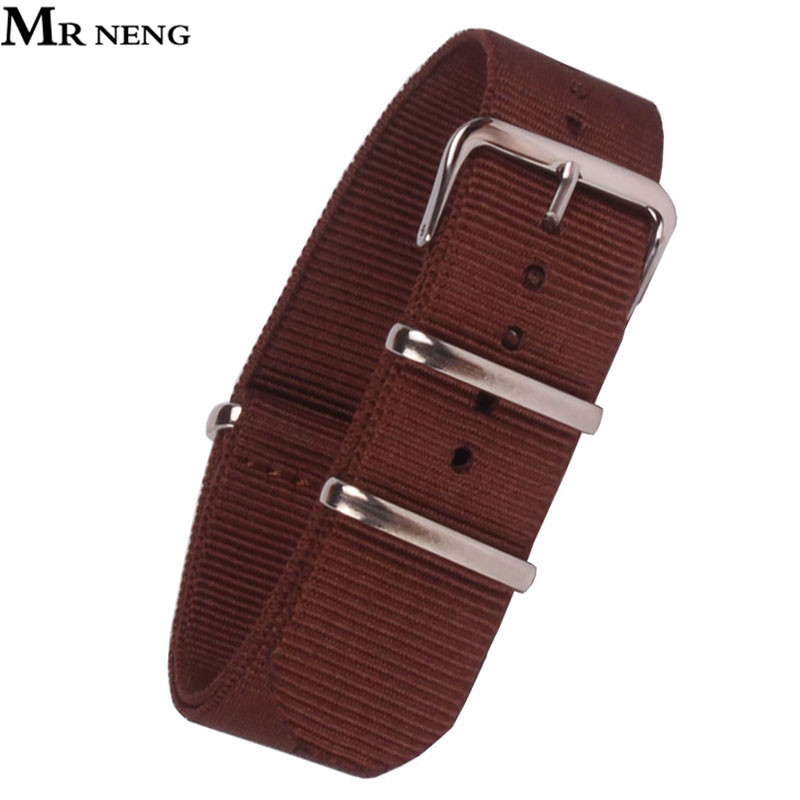 MR NENG Brand 22mm Army Sports Nato Fabric Nylon Watchband 22 MM Accessories Bands Buckle Belt Watch Strap Brown 1pcs canvas fabric nylon watch straps bands black army green brown gray striped replace wristwatch bracelet width 20mm