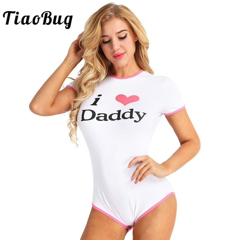 TiaoBug Women Adult I Love Daddy Pattern Short Sleeve Snap Crotch Cotton Romper Jumpsuit Hot Sexy Women Bodysuit Cosplay Clothes