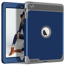 For Apple iPad 2 3 4 Case Kids Safe Heavy Duty Shockproof Rugged Hybird Armor PC Silicone in 1 Full Body Protective Cover