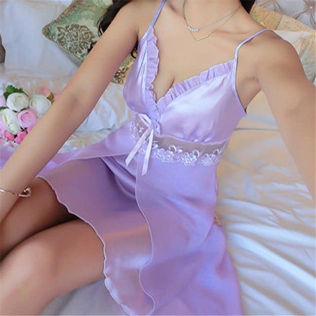 Deep V Neck Women Satin Nightgown Sexy Lace Sleepwear Strap Spaghetti Ladies Silk Nightwear Sleep Wear Night Gown Lingerie Dress 3