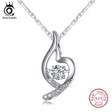 ORSA JEWELS 925 Sterling Silver Women Pendant Necklaces With Luxury AAA Cubic Zircon Special Fine Jewelry OSN42