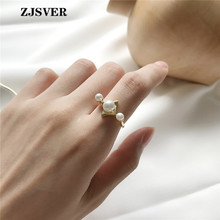 ZJSVER Korean Jewelry 925 Sterling Silver Ring Gold Color Classic Pearl Opening Adjustable Women Rings For Festival Gift zjsver korean jewelry 925 sterling silver rings gold color retro simple double layer mermaid opening adjustable women ring