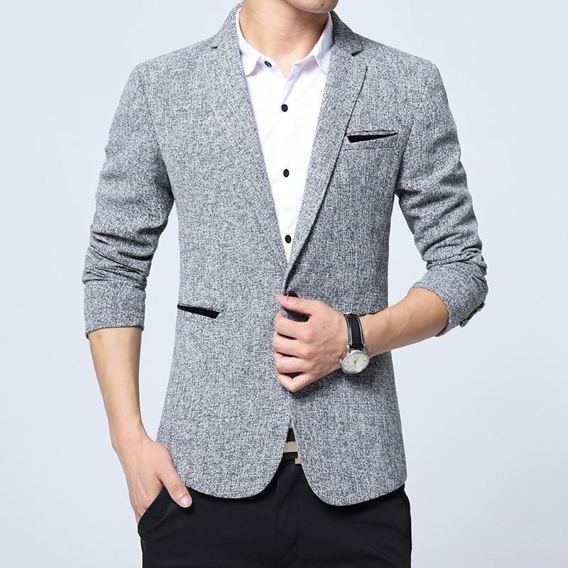 2017 New Spring Fashion Stripe Blazer Men Casual Suit Mens Blazers Slim Fit One Button Men
