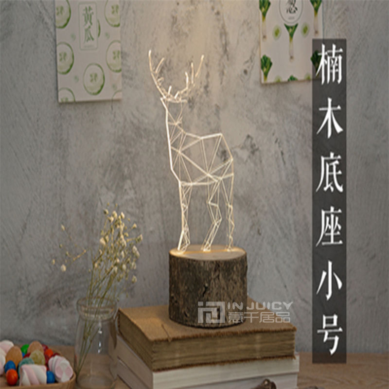 Nordic Modern Wood Deer LED Bedroom Desk Lamp Table Light Machilus Beech Corridor Loft Reading Living Room Decor Gift New