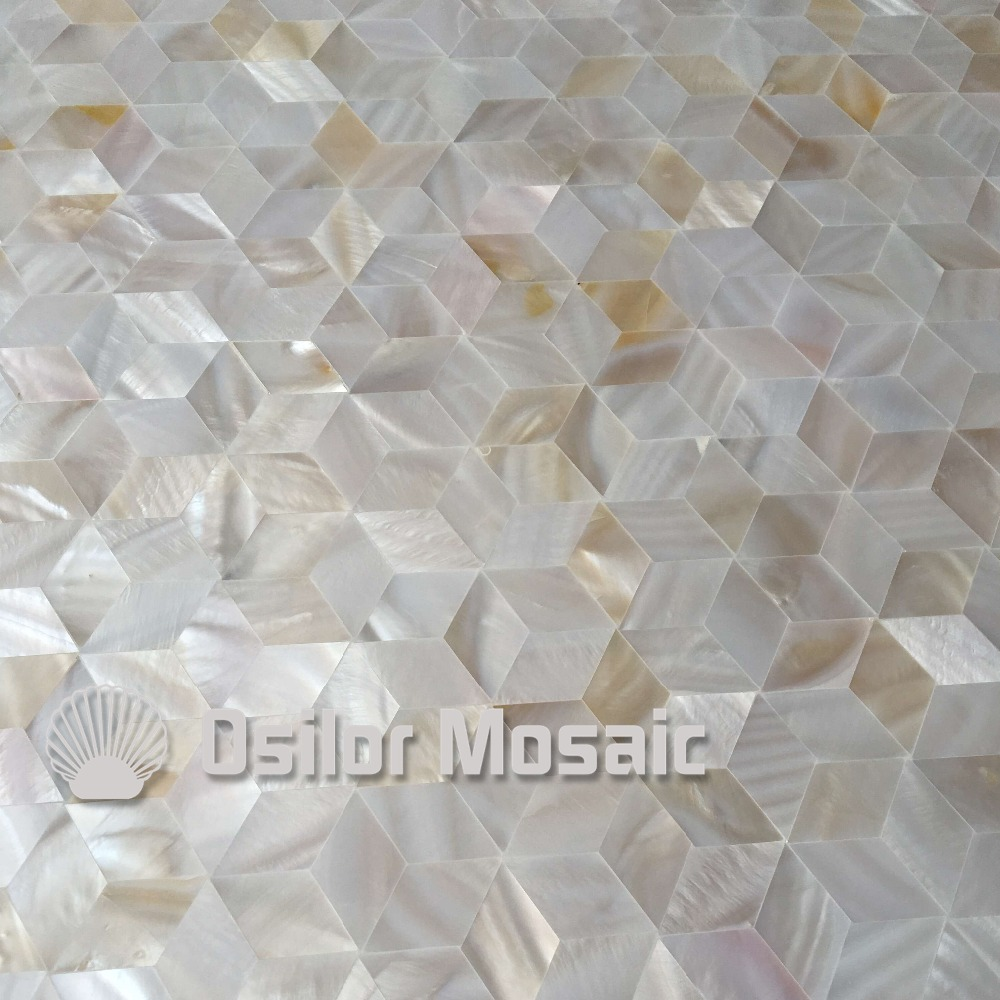 Rhombus pattern 100% natural Chinese mother of pearl tile for interior house decoration polished shell tile wall tile brick pattern 100% blacklip sea shell natural black color mother of pearl mosaic tile for interior house decoration wall tiles