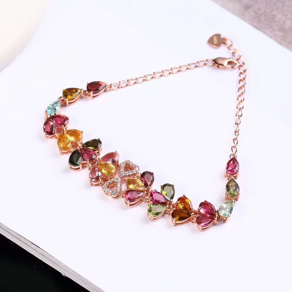 gemstone fine jewelry factory 2019 new-designed trendy  925 sterling silver natural colorful tourmaline bracelet for female 1