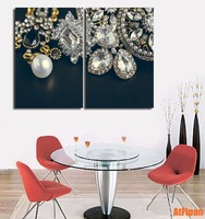 Jewelry Earrings Necklace 2 Panels Poster Modern Wall Art HD Picture Canvas Print Painting For Living