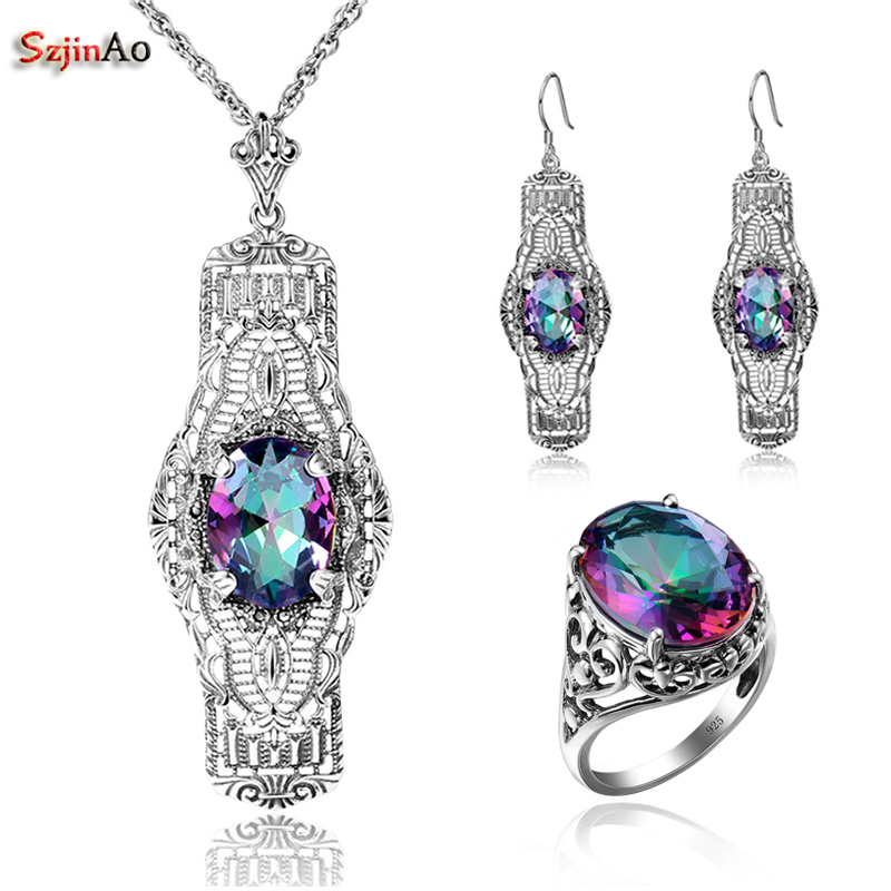 Szjinao Egg Rainbow Topaz Vintage Solid 925 Silver