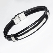Leather multi-layer stainless steel cowhide bracelet Europe and America woven mens titanium jewelry