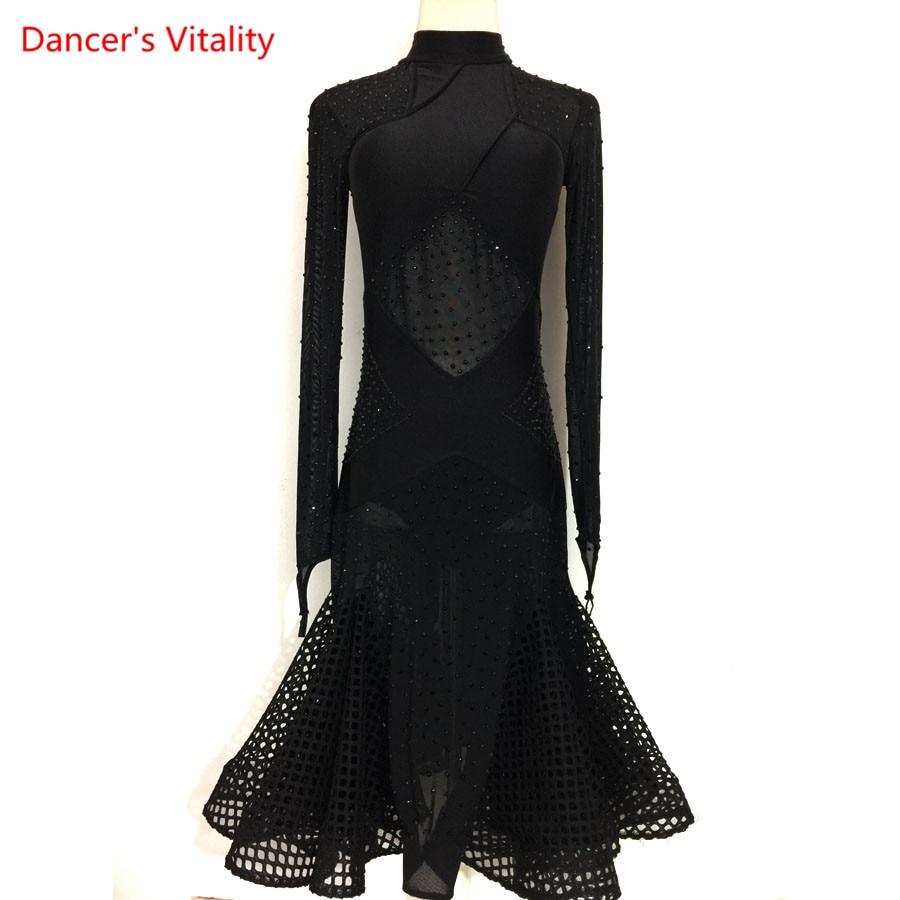 Sexy Mesh Latin Dance Dress Competiton Clothing Adult Kids Ballroom Samba Dance Practice/Performance Wear Dresses Custom