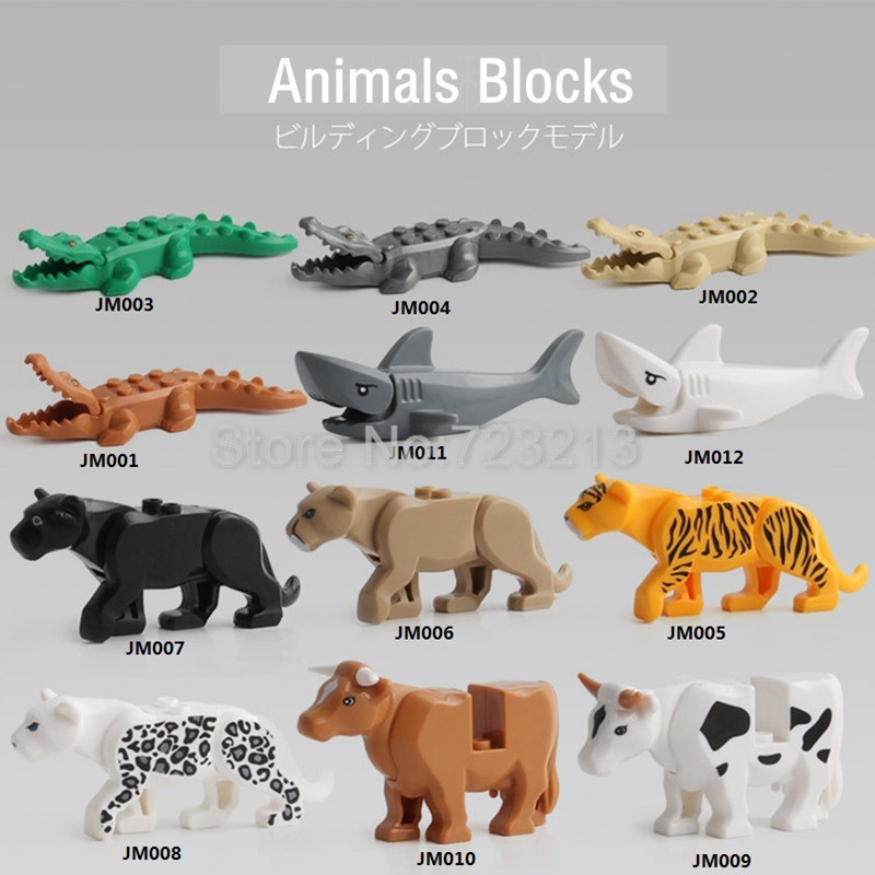 Single Legoing Panther Snow Leopard Crocodile Tiger Animal Series Cow Cattle Horse Shark Building Blocks Set Model Brick Kit Toy