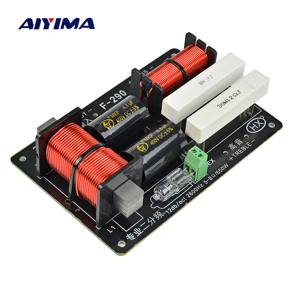 AIYIMA 1PC 650W 2 Ways Crossover Audio Board Tweeter Bass Speaker Frequency Divider For 5-8Ohm DIY Stage Speaker Filter 2600Hz
