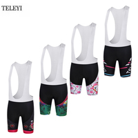 TELEYI Professional Womens bicycling Wear Girls Cycling Padded BIB Short Outdoor Sport Polyester Tights Breathable Bib Shorts