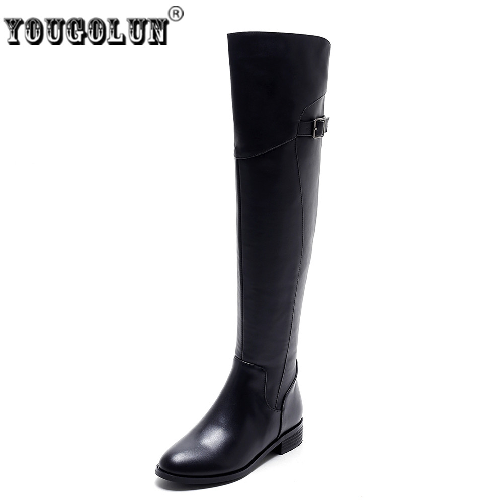 YOUGOLUN woman autumn winter genuine leather thigh high boots women suede nubuck square heels over the knee boots ladies shoes avvvxbw 2016 new brand long boots fashion elastic over the knee boots shoes woman square heel genuine leather thigh high boots