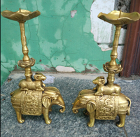 Metal Crafts Metal crafts A pair of Home feng shui chinese brass elephant sheep statue candle stick fast SHIPPING