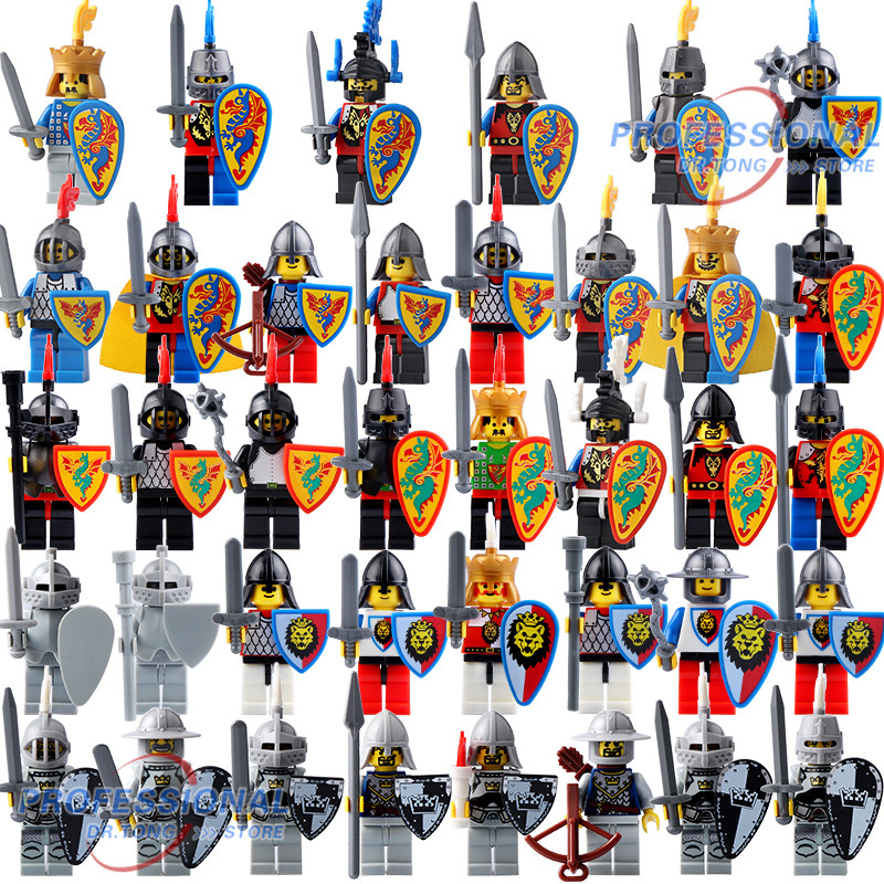Medieval Castle Crown Knight  Bull Shield Knight With Weapons Action Figures Building Blocks Bricks Toys For Children