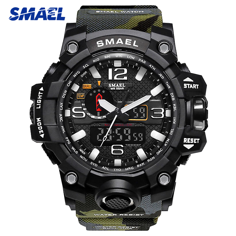 SMAEL Hommes Camo Couleur Militaire Sport Montre 1545 s CHOC de Style Mâle Quartz Horloge Hommes LED Numérique Montres erkek kol saati