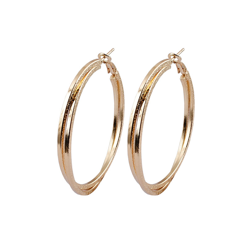 e05596d56 Extravagant Double Circle Flat Shinning Hoop Earring TOP Popular Circle  Simple Earrings Big Light Gold for Women-in Hoop Earrings from Jewelry &  Accessories ...