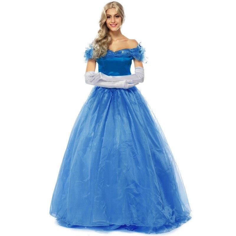 Kadın Giyim'ten Elbiseler'de Külkedisi Mavi Yetişkin Prenses Elbise Kadın Cadılar Bayramı Cosplay Kostüm Güzel Bayan Parti Elbise'da  Grup 1