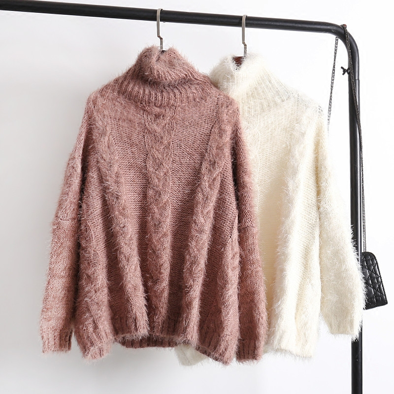 Women Sweater Pullover Winter Female 2018 New Hot Fashion Casual Long Sleeve Loose Turtleneck Thick Warm