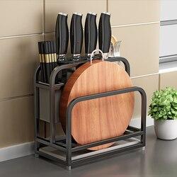 Titular da faca de aço inoxidável cortador rack armazenamento cremalheiras da cozinha quadro placa corte combinação titular faca acessórios cozinha