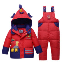 29KEIZ Children Down Jacket Suit Cartoon Cock Thicken Warm Boys Girls Baby Winter Snowsuit Set Kids Coat & Pant Infant Down Coat