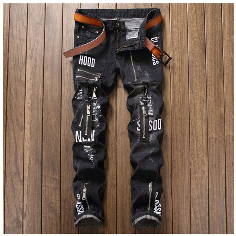 Hip-hop Men Denim Jeans Masculina Casual Denim Patchwork Slim Punk Jeans Pants Brand Print Biker Jeans Cool Rock Zipper Design 2017 new designer korea men s jeans slim fit classic denim jeans pants straight trousers leg blue big size 30 34