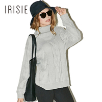 IRISIE 2017 Fashion Solid Gray Sweaters Women Warp Knitted Fabric Casual Pullovers Female High Collar Long Sleeve Tops