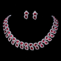 Emmaya Wedding Jewelry Sets Bridal Necklace Set for Women Teardrop White Red Zircon Jewelry Set Silver Color Engagement