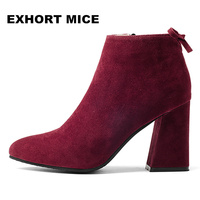 Winter Fashion Suede Ankle Boots Fashion Square Toe Thick Heel Women Boots High Heel Lady Boots