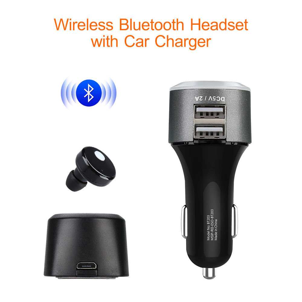 Blueskysea 2 in 1 Wireless Stereo Bluetooth Headphone Earphone Two Way Power Headset Hands-free Call With Car Charger Magnetic купить