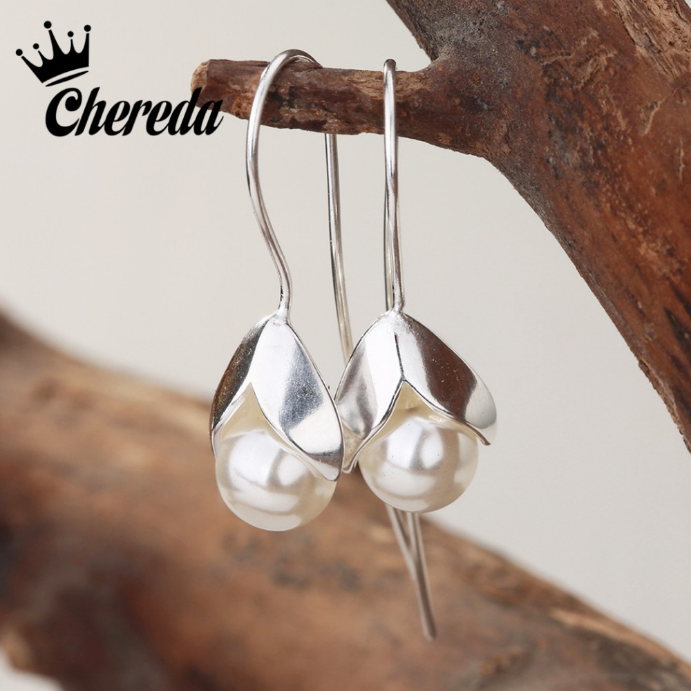 Chereda    Classic Drop Earrings Freshwater Pearl Earrings White Genuine Real Natural Pearl Jewelry For Women