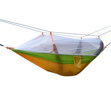 Double Hammock With Mosquito Net Camping Survival Mosquito Net Hammock Parachute Cloth Portable Hammock 260*140 CM tanie tanio Meble ogrodowe Paski hamak pasy X8900 Dwie osoby Jednolity kolor Nowoczesne Osoby dorosłe