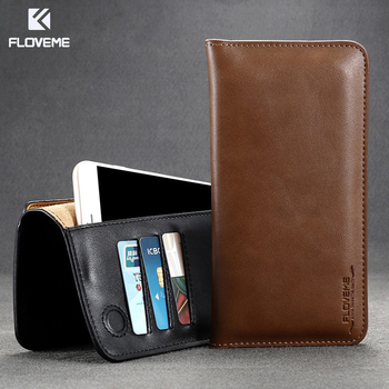 FLOVEME Luxury Genuine + PU Leather Bag Case For Samsung Galaxy S8 S6 S7 Edge Plus Wallet Cover For iPhone 7 Xiaomi Redmi 4 Pro