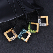 Fashion 100% Handmade Wood Resin Statement Necklaces For Women Men Wooden Adjust Long Rope Chain Necklace Casual Jewelry