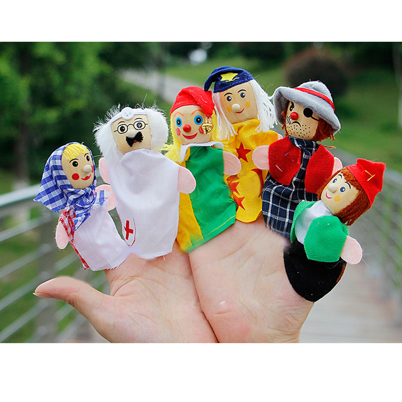 six Occupations hand puppet jods Doctor Pirate clown farmer finger puppet Wooden head learning aid dolls cloth play game
