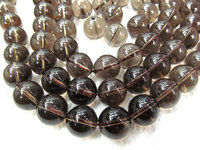 high quality 12mm 5strands crystal smoky quartz beads, round ball smooth jewelry beads