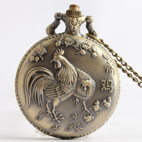 Retro Bronze Chicken Pocket Watch with Pendant Necklace Chain Quartz Movement Mens fob watches Relogio De Bolso