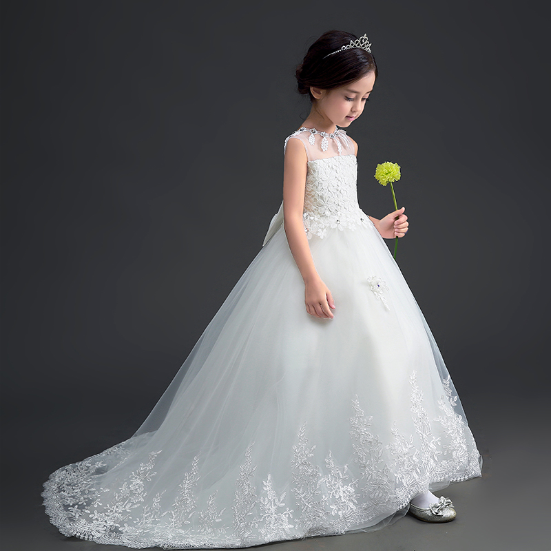 Luxury Long Cute Lace Pierced Embroidery Kids Dress For Girls Sweet Prom Party Flower Girls Dress For Wedding Fashion 2017 P60 girls embroidery detail contrast lace hem dress