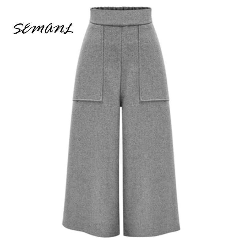 2017P Winter European Style Plus Size 4XL Women Wool Wide   Pants   Casual Elastic Waist Trousers Pockets High Waist Female   Capris