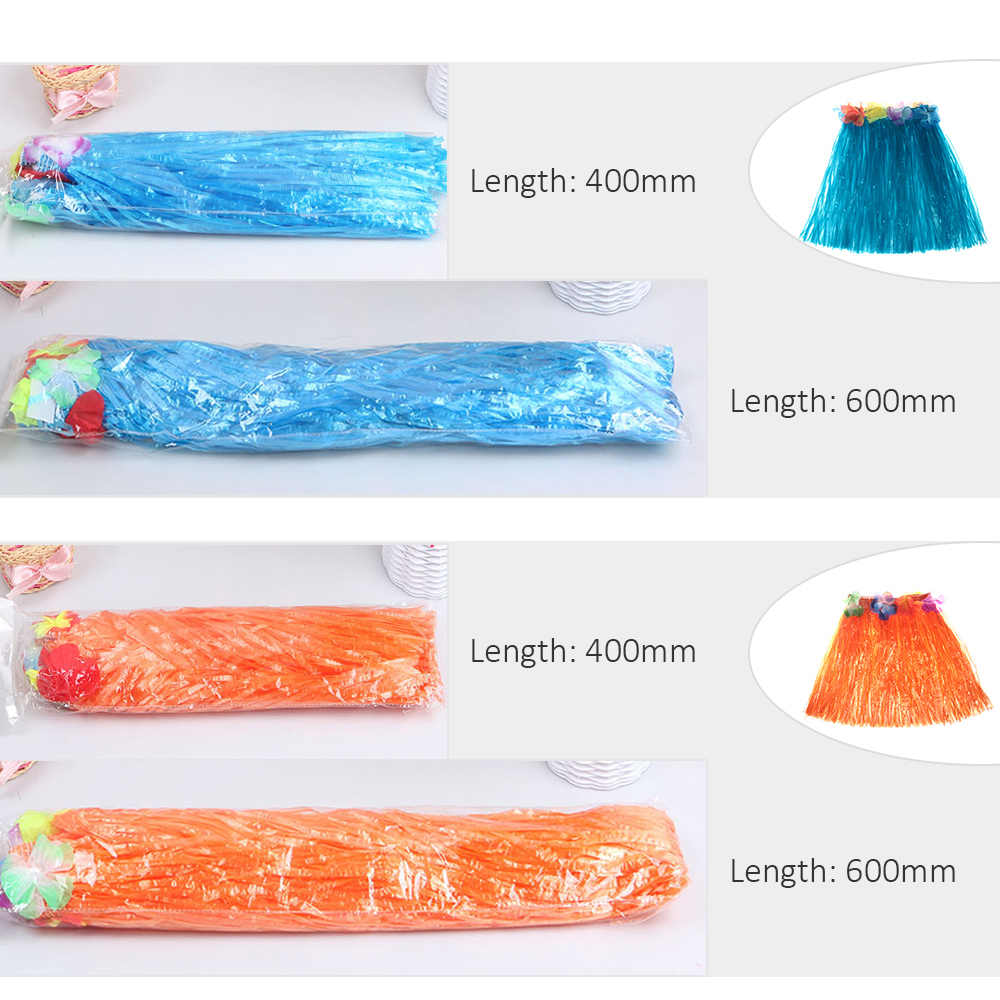 400mm 600mm Kids Hawaiian Hula Skirt For Girls Woman Tropical Party Decorations Stage Costume Hawaii Beach Dress Party Supplies