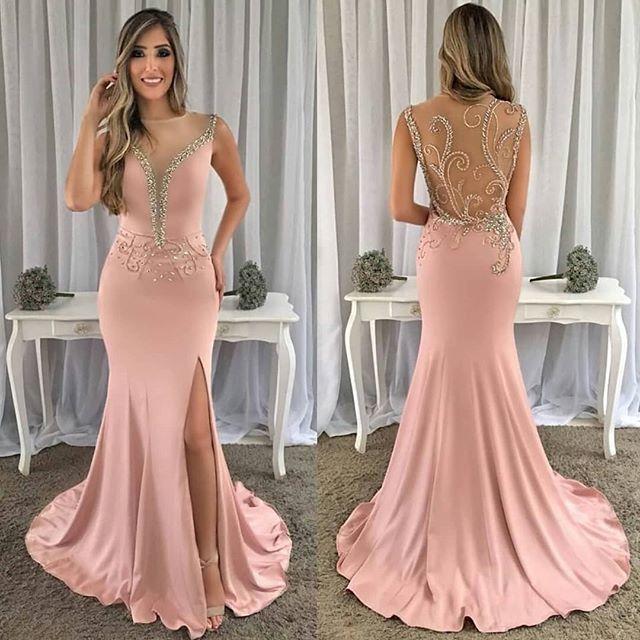 New Design Long   Prom     Dresses   2019 O-Neck Sleeveless Floor Length Beading Chiffon Evening   Dresses   Vestido de festa
