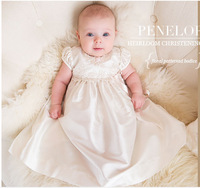 2018 Summer Baby Girl White Christening Gown 1st Birthday Party Newborn Baby Girl Wedding Princess Dress with Hat Baptism