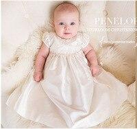 2pcs Set White Christening Gown 1 Year Birthday Dress Flower Girl Dress For Wedding Newborn Baby